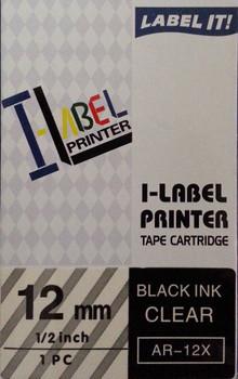 Label Printer Tape Casio 12mm BLACK on Clear 8 metre Casio AR12XW
