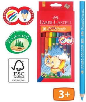 Jumbo Colour Pencils Super thick colour rich 6mm leads give up to 30% extra colour coverage before sharpening.  Jumbo pencils are made using rich pigments for 'silky smooth' colour lay down.  Extra thick 6mm leads colour quickly & easily.  Large hexagonal diameter ideally suits young artists.