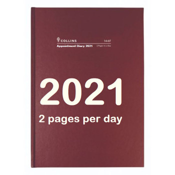 Diary 2021 Appointment 144F A4 15 minutes 2 PAGES TO A DAY January to December FREE Delivery