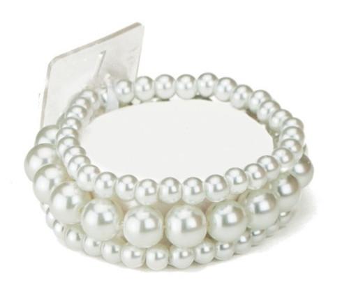 Floral Corsage Bracelet - White Pearl Beads - Bubble Bath Collection