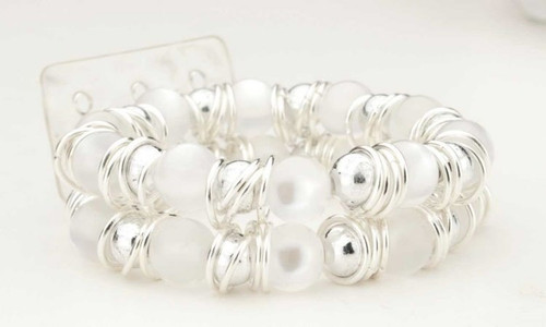 Floral Corsage Bracelet - Frosted beads with silver accents - Gum Drop Collection