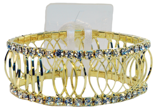 Floral Corsage Bracelet - Gold and Rhinestones - Royalty