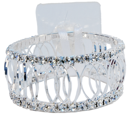 Floral Corsage Bracelet - Silver and Rhinestones - Royalty