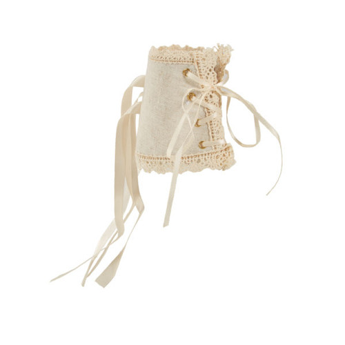 Lace Up Corset Wristlet - Linen and Lace - Ivory