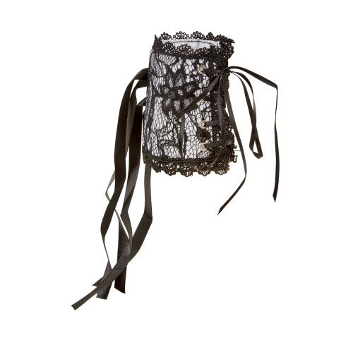 Lace Up Corset Wristlet - French Maid - Black and White