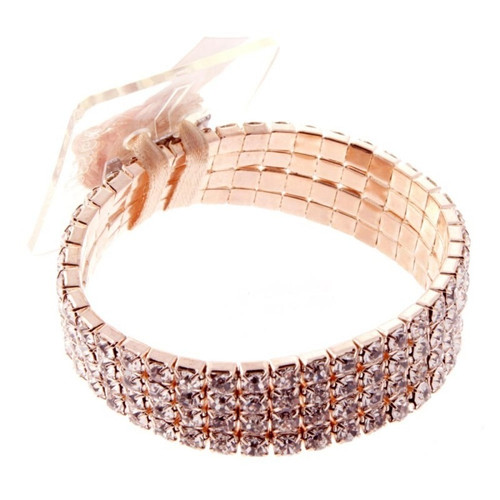 Floral Corsage Bracelet - Rose Gold  Rhinestones - Rock Candy Collection