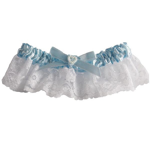 Satin and Lace Wedding Garter - Something Blue