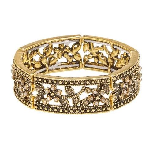 Floral Corsage Bracelet in Gold, Rosabella Collection