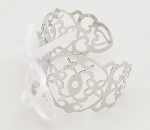 Floral Corsage Bracelet in Silver, Filigree Cuff Collection