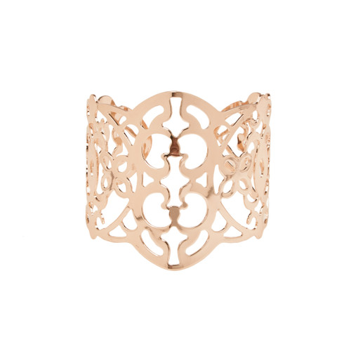 Floral Corsage Bracelet in Rose Gold, Filigree Cuff Collection