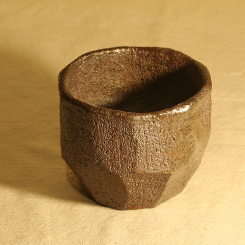 Unglazed wood fired tumbler, side
