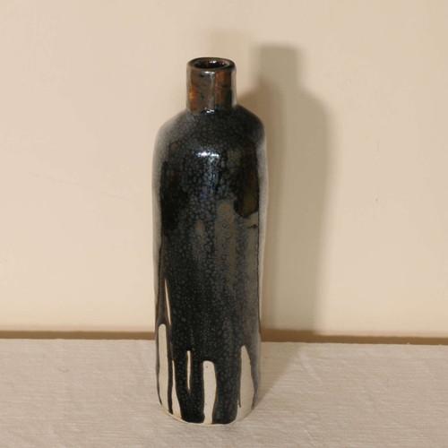 Oil spot glazed tall bottle