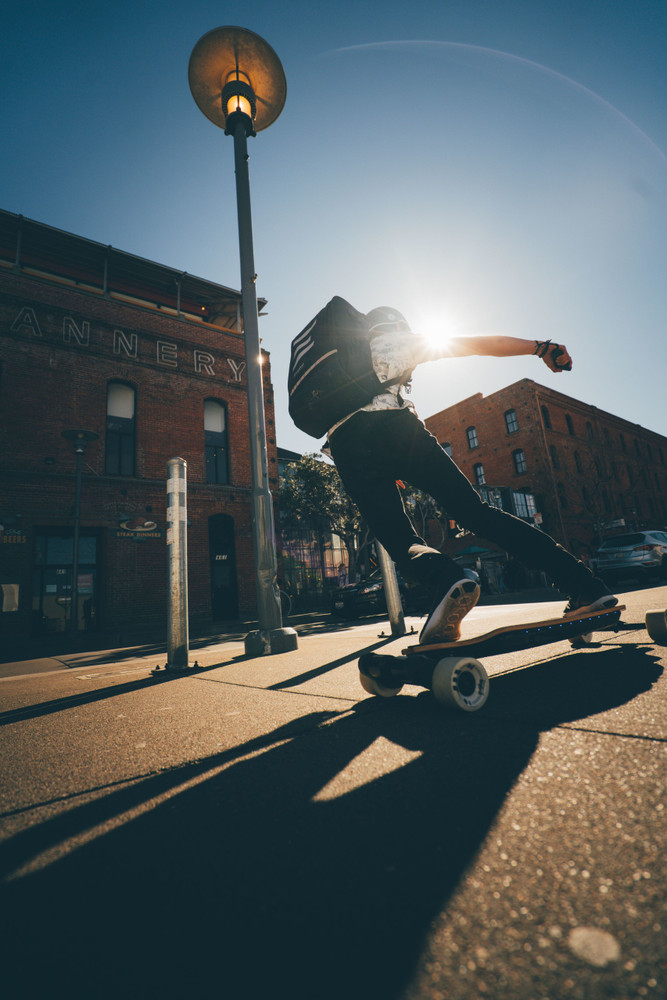 Evolve Bamboo GTR Street Electric Skateboard Editorial Image