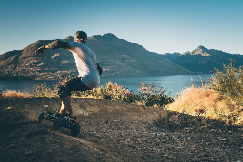 Evolve Carbon GTR All Terrain Electric Skateboard Editorial Image