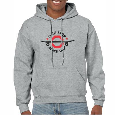 One Stop Board Shop OSBS Shred Hoodie in Grey (Front)