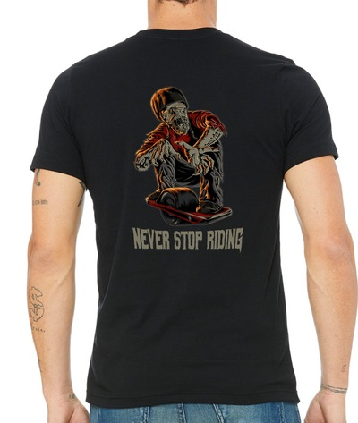 One Stop Board Shop OSBS Never Stop Riding Tee (Back)