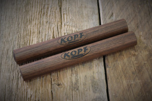 The Kopf Percussion Traditional Walnut Claves have a hand rubbed finish that is my own blend of Boiled Linseed Oil, Turpentine, and Natural Beeswax.