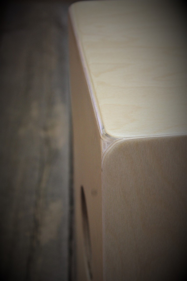 Kopf Percussion Novato Beginner Cajon corner view.