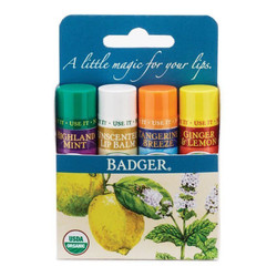 Badger Classic Lip Balm - 4 Stick Set (Blue)