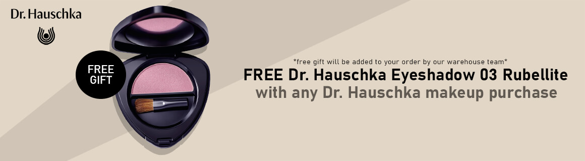 Dr Hauschka Free Eyeshadow with any Dr. Hauschka makeup purchase banner.