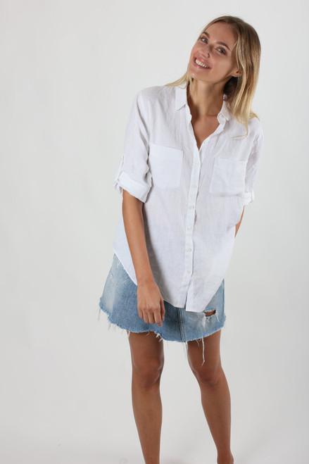 Hutt Clothing white linen boyfriend shirt LamiSaru Boutique