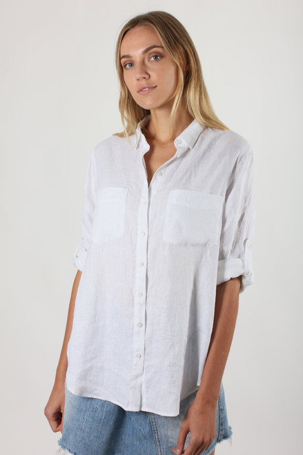 Hutt Clothing white linen boyfriend shirt LamiSaru Boutique