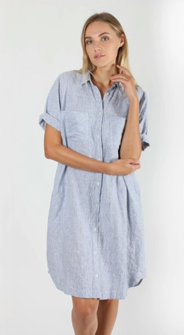 Hutt Clothing blue stripe every day shirt dress lamisaru boutique