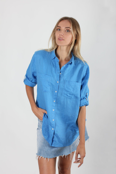 Hut _Clothing _Boyfriend _Shirt_ Cobalt_LamiSaru_boutique
