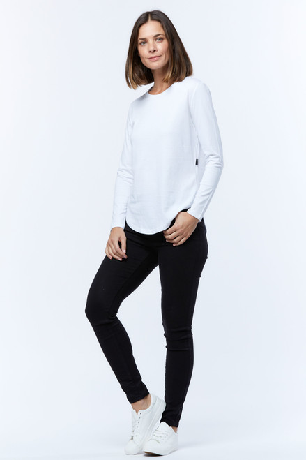 Casa Amuk Long Sleeve Saddle Hem Tee white_LAMISARU_BOUTIQUE