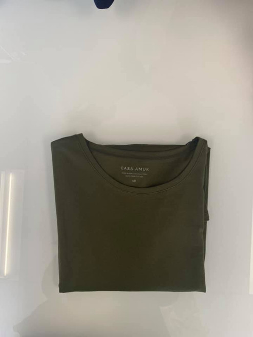 Casa Amuk Saddle Hem T Short Sleeve Olive_lamisaru_boutique
