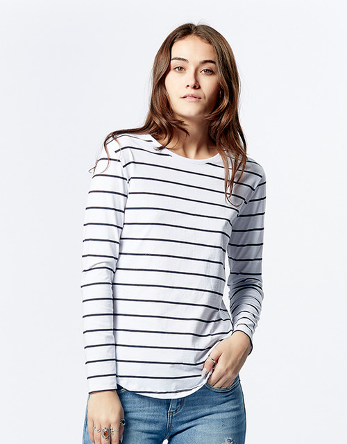 Casa Amuk Saddle Hem T Long Sleeve Classic Stripe _lamiaru_boutique