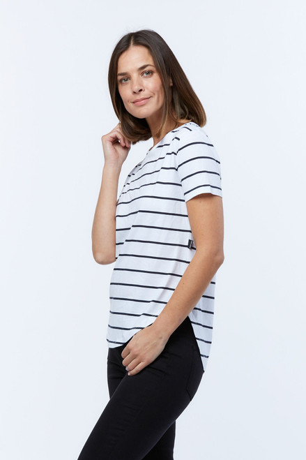 Casa Amuk Saddle Hem T Short Sleeve Classic Stripe_lamisaru_boutique