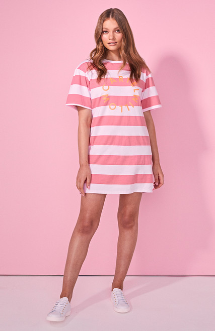 Cartel & Willow Sailor Tee Dress - Pink Stripe