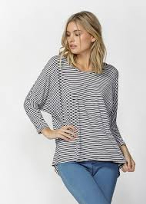 Betty Basics Milan 3/4 Sleeve Top - Navy/White Stripe