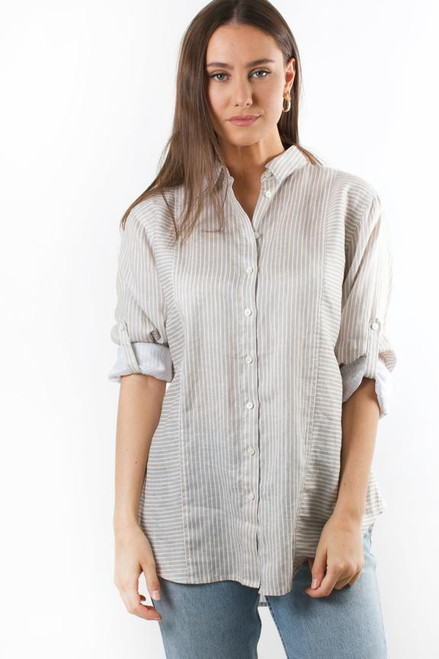 Hut _Boyfriend_ Shirt_ Taupe _Stripe_lamisaru_boutique