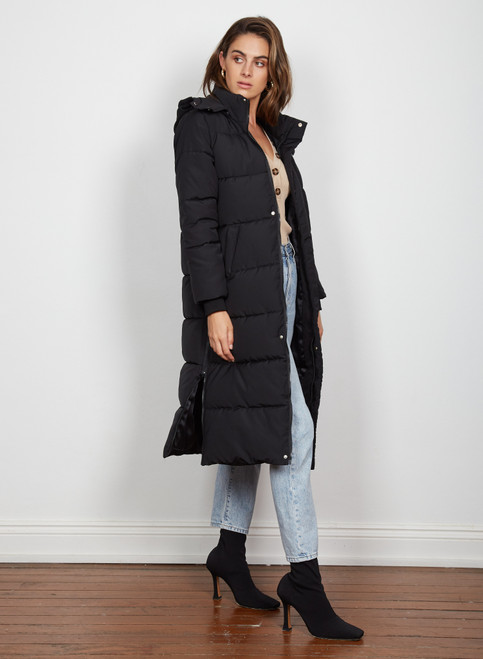 Wish Blizzard Longline Coat - Black
