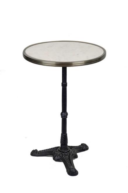 Table de Bistrot en Marbre Blanc avec Base de Fer, 51 cm de Diamètre