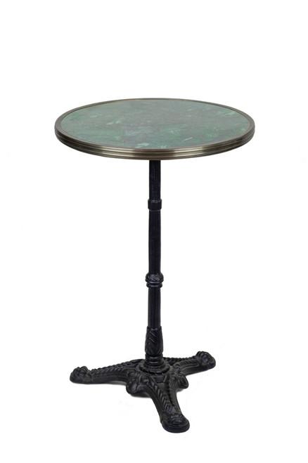 Table de Bistrot en Granit Vert avec Base de Fer, 51 cm de Diamètre