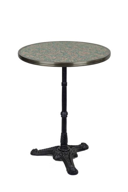 Table de Bistrot en Granit Gris/Rose avec Base de Fer, 61 cm de Diamètre