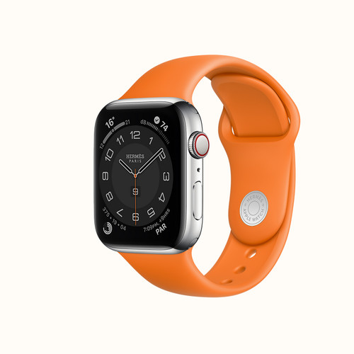 Apple Watch Hermès Series 4 w. AppleCare+ , 44mm Stainless Steel w. Orange Sport Band