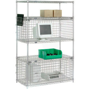 """Nexel®Chrome Wire Shelving Unit with Two Enclosures - 48""""W x 18""""D x 74""""H"""
