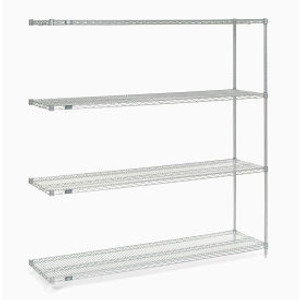 """Nexel®Stainless Steel Wire Shelving Add-On 72""""W x 18""""D x 74""""H"""