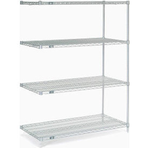 """Nexel®Stainless Steel Wire Shelving Add-On 48""""W x 24""""D x 63""""H"""
