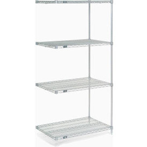 """Nexel®Stainless Steel Wire Shelving Add-On 36""""W x 18""""D x 74""""H"""