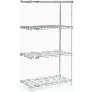 """Nexel®Stainless Steel Wire Shelving Add-On 36""""W x 18""""D x 63""""H"""