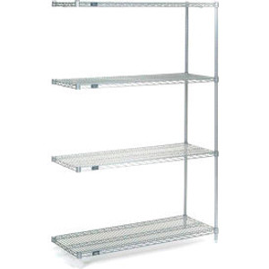 """Nexel®Stainless Steel Wire Shelving Add-On Unit 24""""W x 14""""D x 74""""H"""