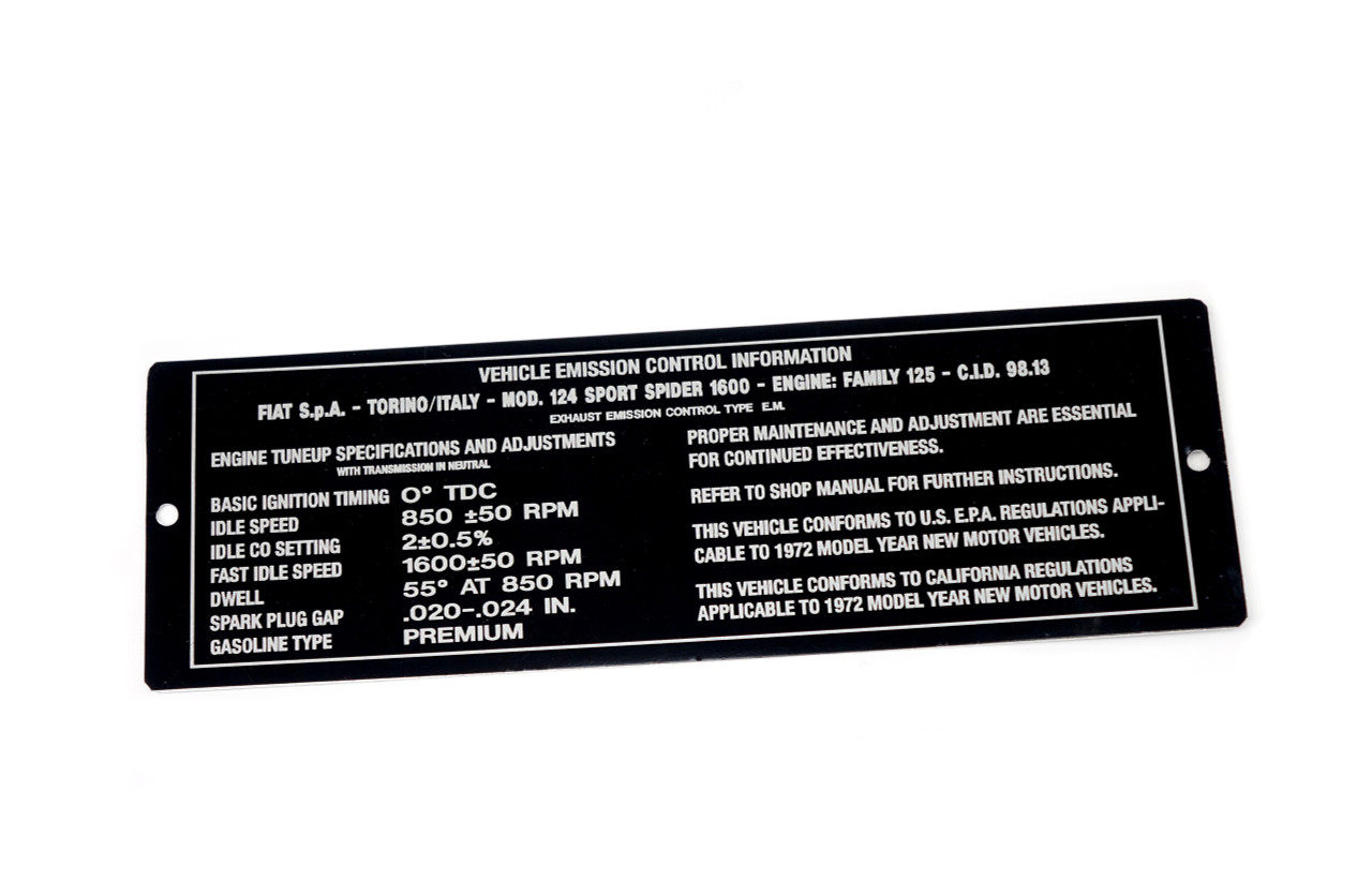 FIAT 124 Spider Vehicle Emission Plate - 1972 (RS0-162 ) - Auto Ricambi