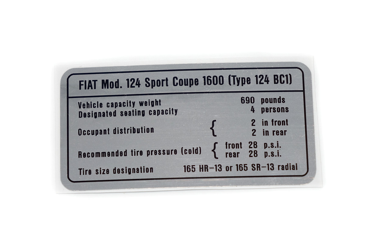 Capacities decal - Auto Ricambi FIAT 124 Sport Coupe - 1608cc (BC1)