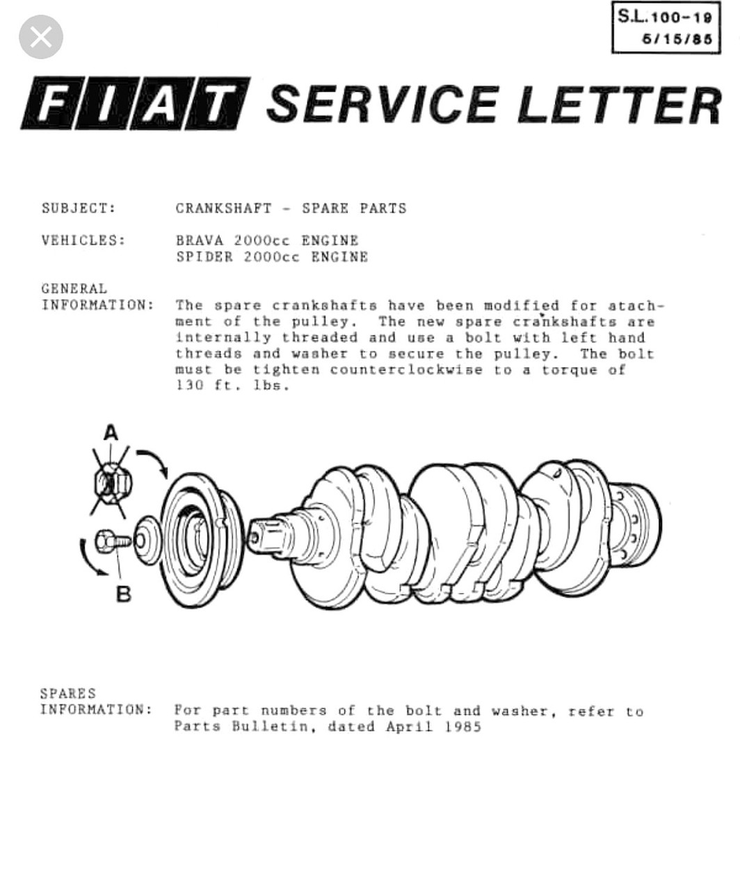 Crankshaft Bolt - 1983-85