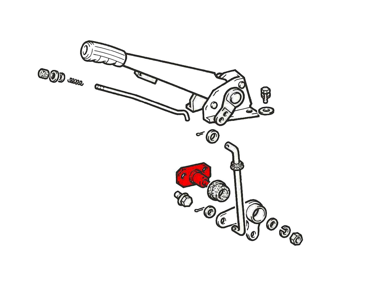 FIAT 124 Spider Parking Brake Pull Lever Pivot